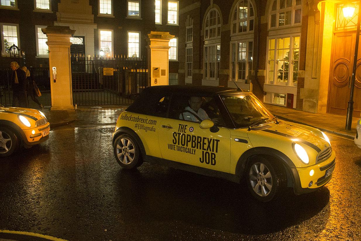 Matthew Parker St, London, UK - 11 Dec 2019 - EU Flag Mafia minis outside Conservative Central Office, Matthew Parker St, London.