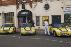 Wimbledon, London, UK - 11 Dec 2019 - EU Flag Mafia minis outside Wimbledon Theatre waiting for Liberal Democrat leader Jo Swinson.