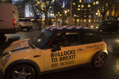 London, UK - 11 Dec 2019 - EU Flag Mafia minis visiting Sloane Square (Chelsea and Fulham constituency) - General Election 2019.