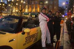 London, UK - 11 Dec 2019 - EU Flag Mafia minis visiting Sloane Square (Chelsea and Fulham constituency) - General Election 2019.