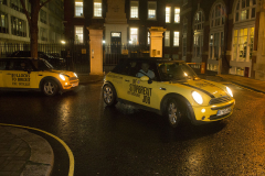 Matthew Parker St, London, UK - 11 Dec 2019 - EU Flag Mafia minis outside Conservative Central Office, Matthew Parker St, London.