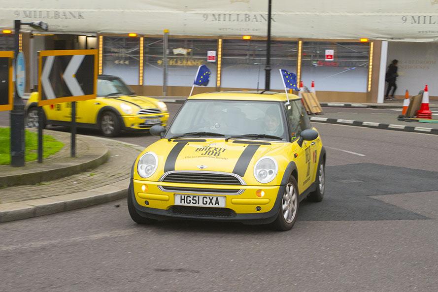 "31 Jan 2020 - London, UK - EU Flag Mafia ""Brexit Job"" minis at Lambeth Bridge and Millbank."