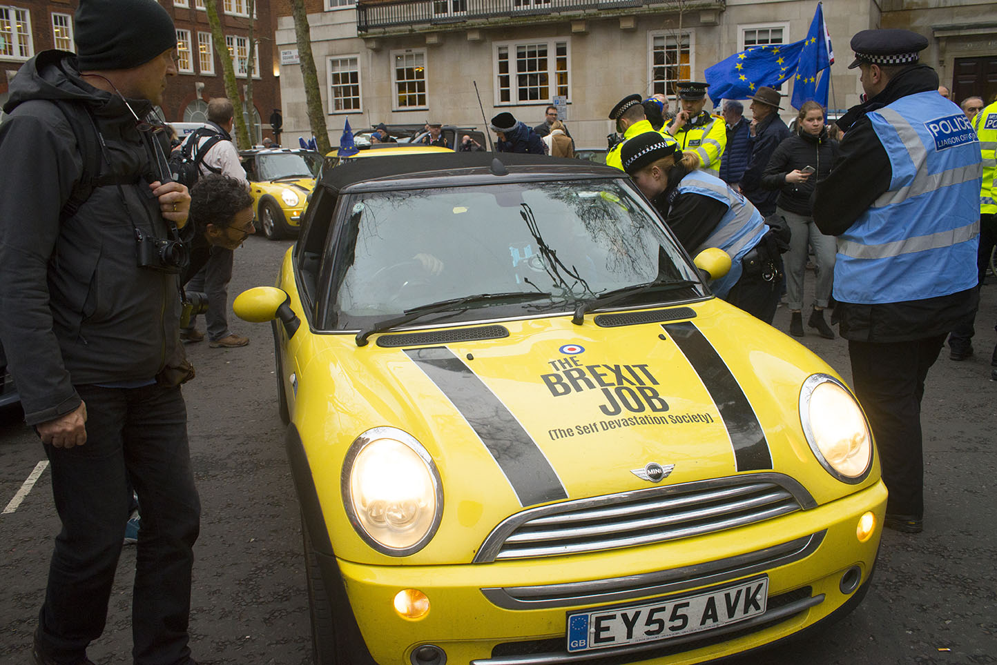 """31 Jan 2020 - London, UK - The EU Flag Mafia minis outside Europe House on the final day of EU membership 2020, """"à bientôt"""" (see you soon) procession from Downing Street to Europe House."""