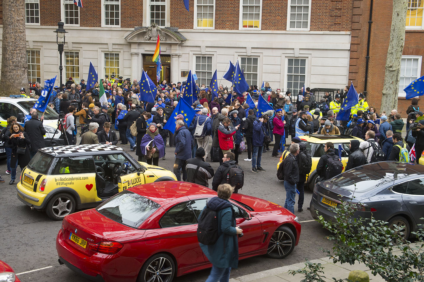 """31 Jan 2020 - London, UK - Outside Europe House on the final day of EU membership 2020, """"à bientôt"""" (see you soon) procession from Downing Street to Europe House. EU Flag Mafia minis present."""