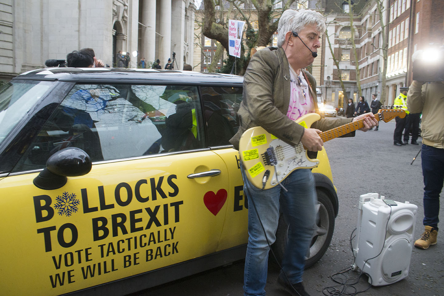 """31 Jan 2020 - London, UK -Peter Cook outside Europe House on the final day of EU membership 2020, """"à bientôt"""" (see you soon) procession from Downing Street to Europe House. EU Flag Mafia minis present."""