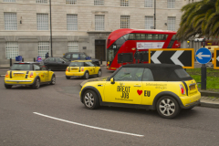 "31 Jan 2020 - London, UK - EU Flag Mafia ""Brexit Job"" minis at Lambeth Bridge and Millbank."