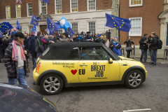 "31 Jan 2020 - London, UK - The EU Flag Mafia minis outside Europe House on the final day of EU membership 2020, ""à bientôt"" (see you soon) procession from Downing Street to Europe House."