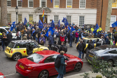 "31 Jan 2020 - London, UK - Outside Europe House on the final day of EU membership 2020, ""à bientôt"" (see you soon) procession from Downing Street to Europe House. EU Flag Mafia minis present."