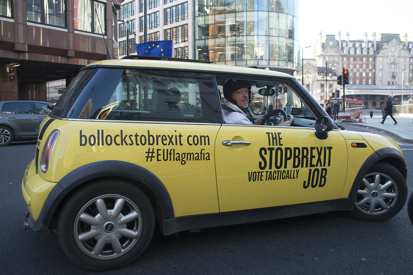3 Dec 2019 - London, UK - Protest minis visit he streets of London in a stunt organised and crowdfunded by anti-brexit campaigning group EU Flag Mafia.