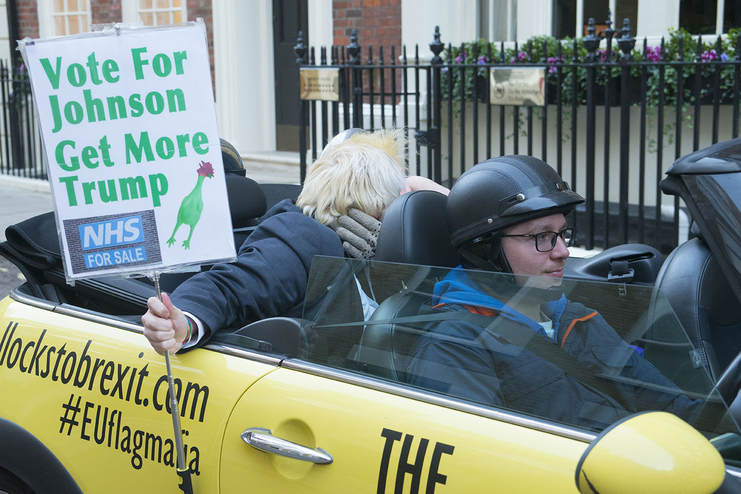 """3 Dec 2019 - London, UK - Faux Bojo (Drew Galdron) and """"Donald Trump"""" getting to know each other in a stunt organised and crowdfunded by anti-brexit campaigning group EU Flag Mafia."""
