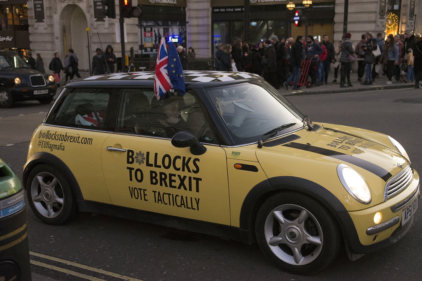 3 Dec 2019 - London, UK - Protest minis in a stunt organised and crowdfunded by anti-brexit campaigning group EU Flag Mafia.