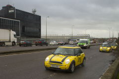 Oxford, UK - 06 Dec 2019 - EU Flag Mafia minis visit Oxford (the Cowley Mini Factory), to protest against Brexit and call for a tactical vote. The minis used by the group were built in the UK but have BMW engines highlighting the single market approach to manufacture. This is under threat with Brexit. EU Flag Mafia are an anti-brexit protest group.