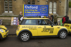 Oxford, UK - 06 Dec 2019 - EU Flag Mafia minis visit Oxford (including the Cowley Mini Factory), to protest against Brexit and call for a tactical vote. EU Flag Mafia are an anti-brexit protest group.