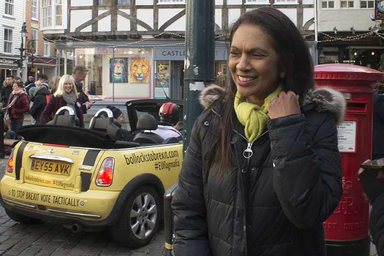 Canterbury, UK - 09 Dec 2019 - Gina Miller with EU Flag Mafia minis visiting Canterbury in support of Labour candidate (and sitting MP) Rosie Duffield during the 2019 General Election. The campaign group EU Flag Mafia crowdfunded the cars to promote tactical voting.