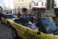 Canterbury, UK - 09 Dec 2019 - EU Flag Mafia minis visit Canterbury in support of Labour candidate (and sitting MP) Rosie Duffield during the 2019 General Election. The campaign group EU Flag Mafia crowdfunded the cars to promote tactical voting.