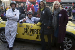 Canterbury, UK - 09 Dec 2019 - Gina Miller and Rosie Duffield with the EU Flag Mafia minis visiting Canterbury in support of Labour candidate (and sitting MP) Rosie Duffield during the 2019 General Election. The campaign group EU Flag Mafia crowdfunded the cars to promote tactical voting.