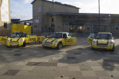 Canterbury, UK - 09 Dec 2019 - EU Flag Mafia minis visit University of Kent, Canterbury in support tactical voting for Labour candidate (and sitting MP) Rosie Duffield during the 2019 General Election. The campaign group EU Flag Mafia crowdfunded the cars to promote tactical voting.