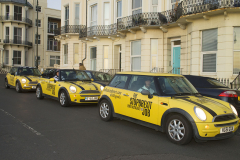 Hastings, UK - 09 Dec 2019 - EU Flag Mafia minis visit Hastings in Sussex in a campaign to vote tactically in the 2019 General Election. Hastings is seen as a marginal seat.